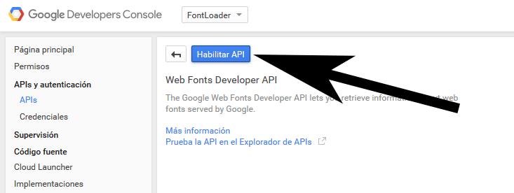 Habilitar Google Font API