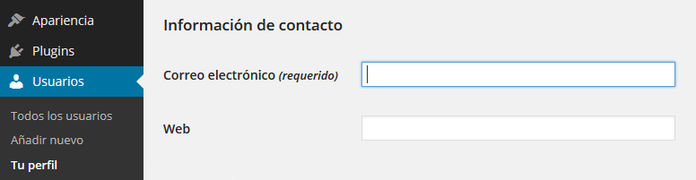User contact methods: default