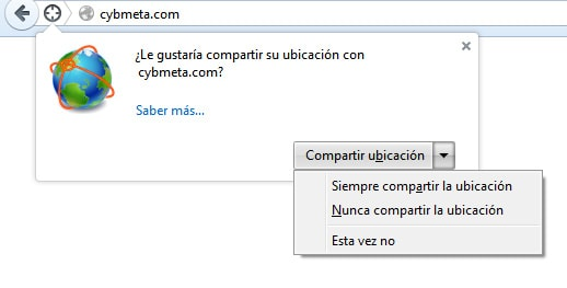 Aviso para compartir geolocalización en Firefox