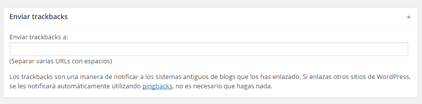 Enviar trackbacks en WordPress