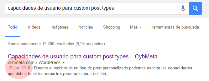 Fecha en los resultados de búsqueda de Google