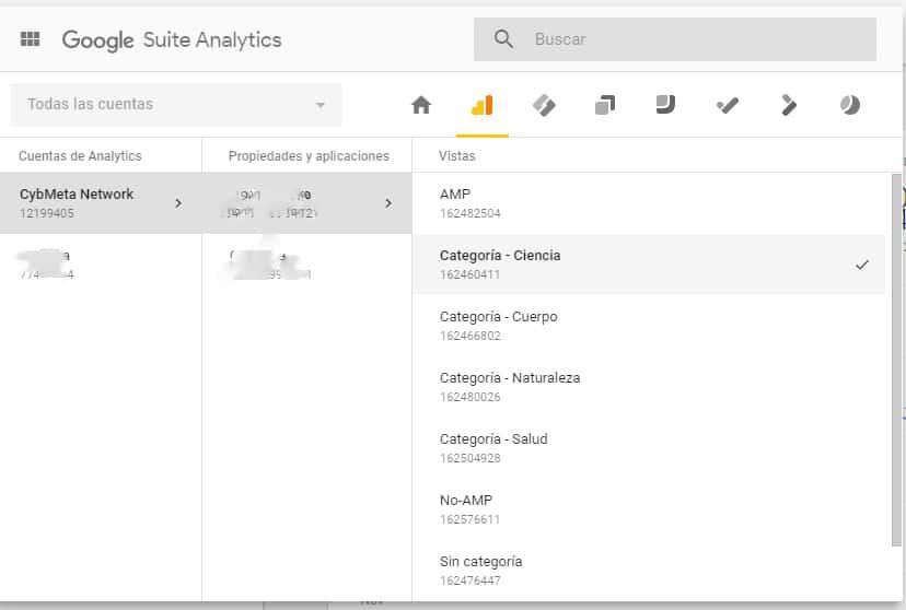 Selección de vistas en Google Analytics