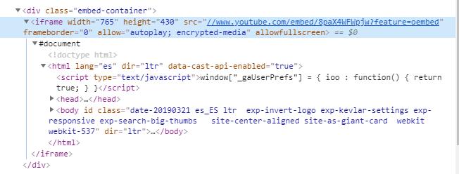 iframe - código HTML